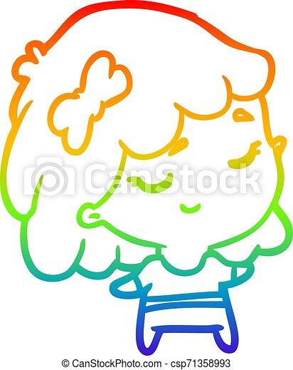 rainbow gradient line drawing cute happy girl - csp71358993