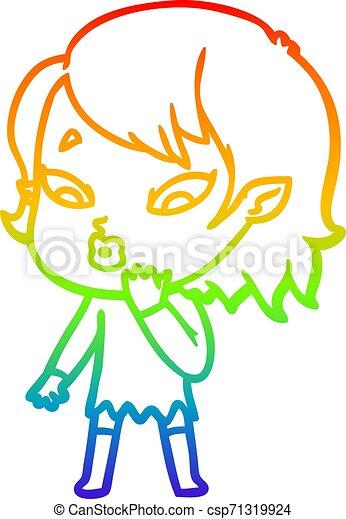 rainbow gradient line drawing cute cartoon vampire girl - csp71319924