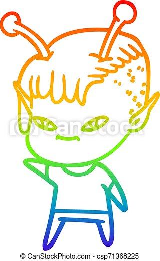 rainbow gradient line drawing cute cartoon alien girl - csp71368225