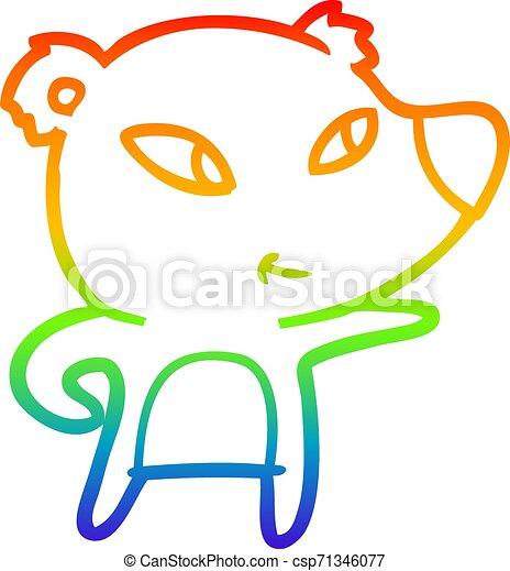 rainbow gradient line drawing cute cartoon bear - csp71346077