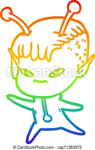 rainbow gradient line drawing cute cartoon alien girl - csp71363972