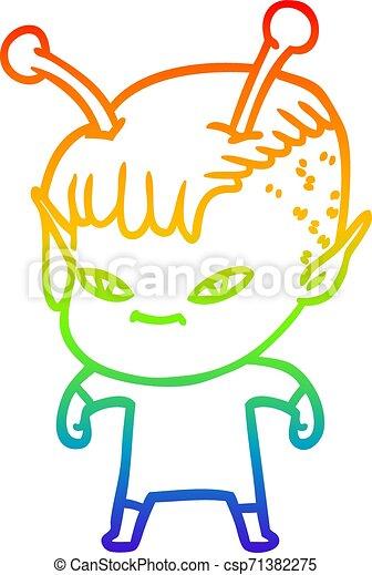 rainbow gradient line drawing cute cartoon alien girl - csp71382275