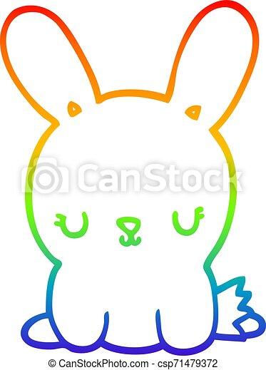 rainbow gradient line drawing cute cartoon rabbit - csp71479372