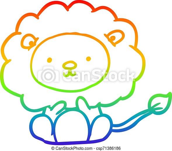 rainbow gradient line drawing cute lion - csp71386186