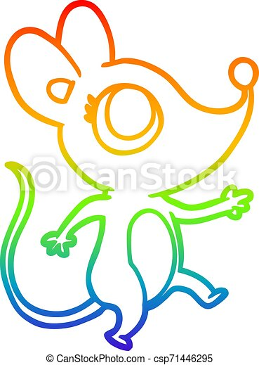rainbow gradient line drawing cute mouse - csp71446295