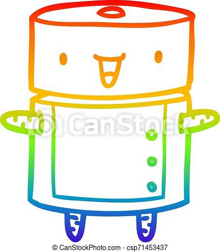 rainbow gradient line drawing cute robot - csp71453437