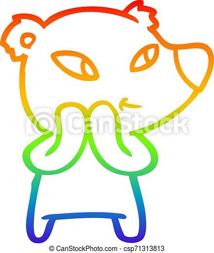rainbow gradient line drawing cute cartoon bear - csp71313813