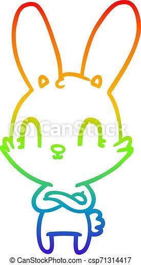 rainbow gradient line drawing cute cartoon rabbit - csp71314417