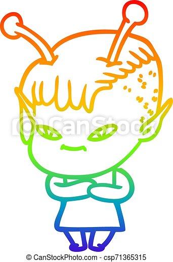 rainbow gradient line drawing cute cartoon alien girl - csp71365315