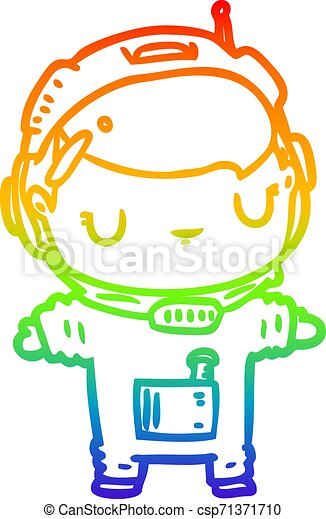 rainbow gradient line drawing cute astronaut - csp71371710