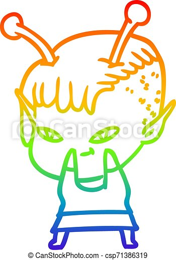 rainbow gradient line drawing cute cartoon alien girl - csp71386319