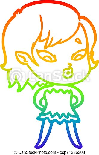 rainbow gradient line drawing cute cartoon vampire girl - csp71336303