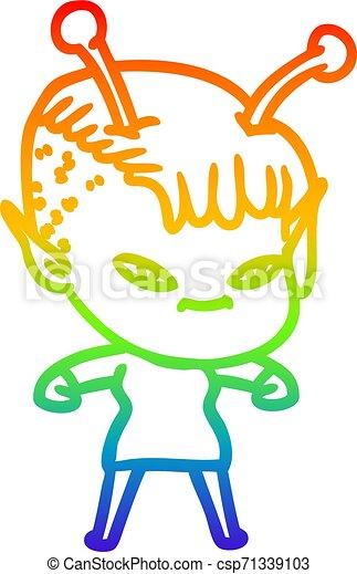 rainbow gradient line drawing cute cartoon alien girl - csp71339103