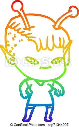 rainbow gradient line drawing cute cartoon alien girl - csp71344207