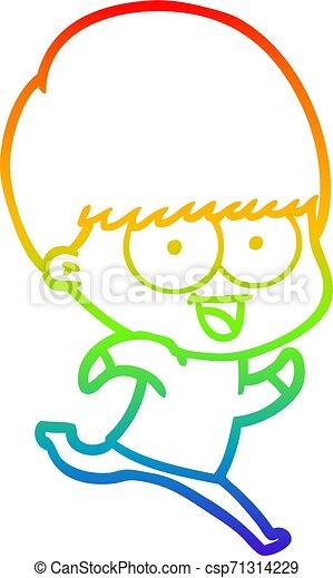 rainbow gradient line drawing happy cartoon boy running - csp71314229