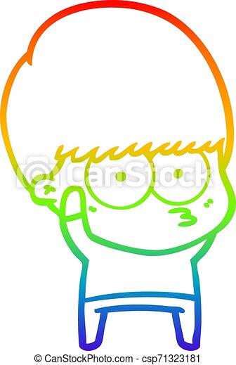 rainbow gradient line drawing nervous cartoon boy - csp71323181