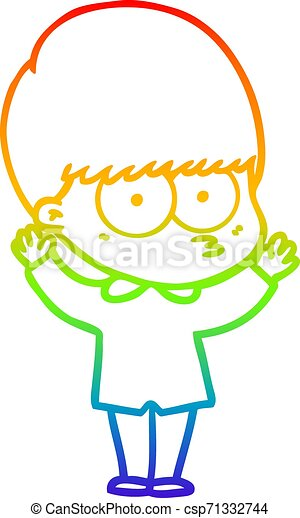 rainbow gradient line drawing nervous cartoon boy - csp71332744