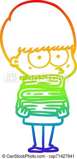 rainbow gradient line drawing nervous cartoon boy carrying books - csp71427941