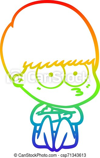 rainbow gradient line drawing nervous cartoon boy - csp71343613