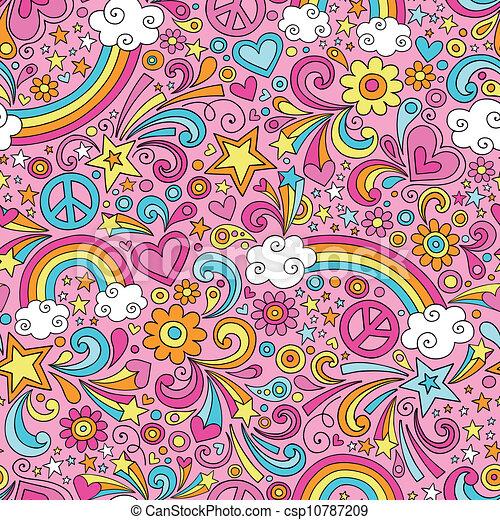 Rainbow Groovy Doodles Pattern - csp10787209