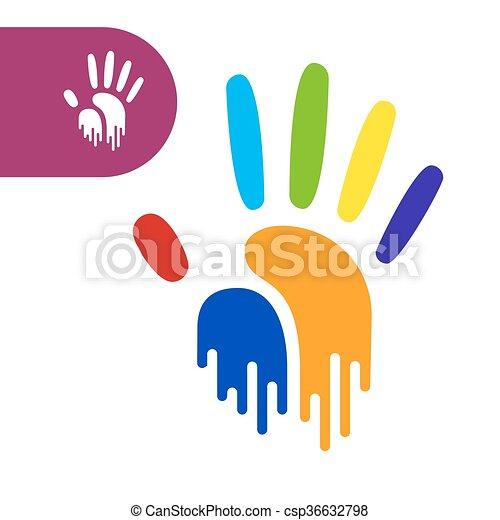 rainbow hand print paint flow handprint rainbow colors of a hand