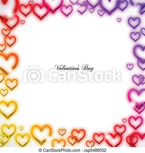 Rainbow Heart frame with Sparkles. Vector - csp5488052