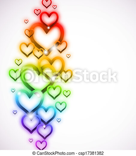 Rainbow Heart with Sparkles on white. Vector - csp17381382