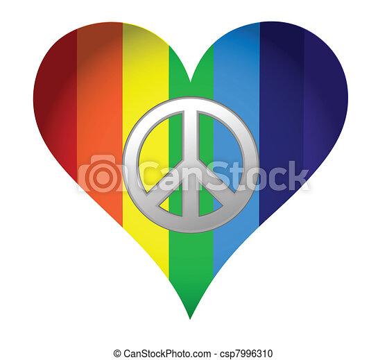 rainbow hearth with peace sign - csp7996310