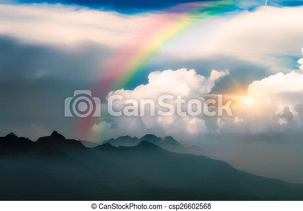rainbow in the mountain - csp26602568