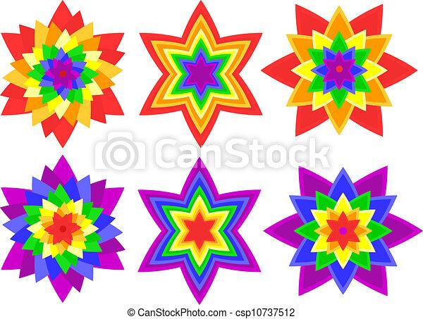 Rainbow Kaleidoscope Flowers Full Page Of Bright Bold Vector Impressive Kaleidoscope Patterns