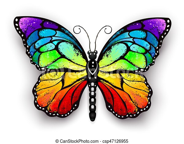 Rainbow monarch butterfly - csp47126955