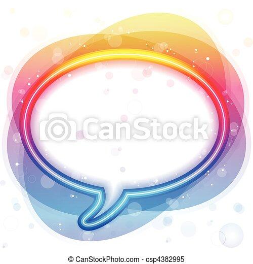 Rainbow Neon Lights Speech Bubble - csp4382995