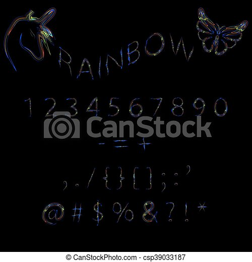 Rainbow neon numbers. - csp39033187