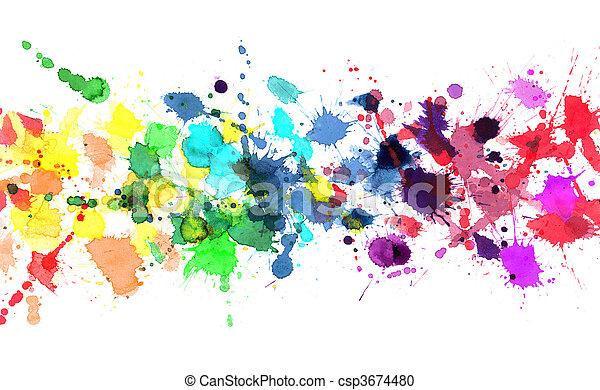Rainbow of watercolor paint - csp3674480