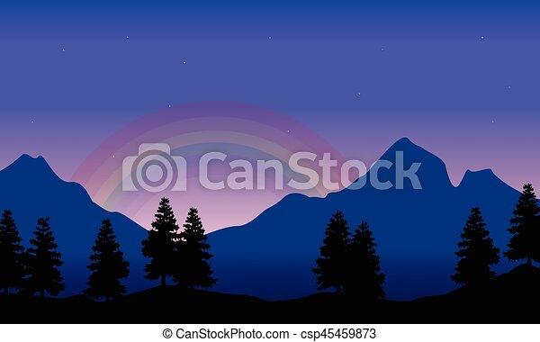 Rainbow on the mountain beauty landscape silhouettes - csp45459873