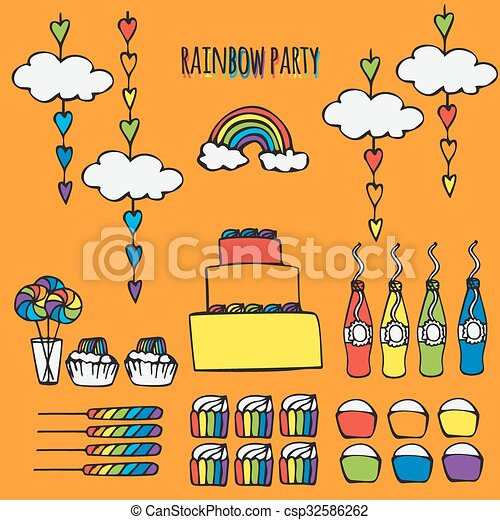 Rainbow Party Ideas Colorful Decor Design Elements