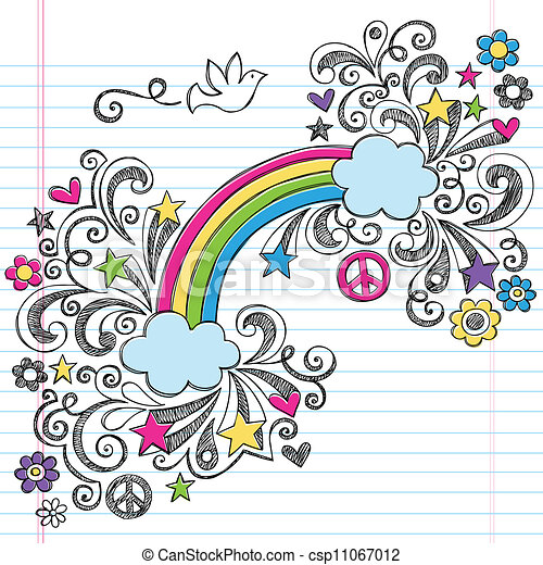 Rainbow Peace Love Sketchy Doodles - csp11067012