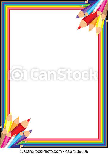 Rainbow Pencil Vector Border - csp7389006