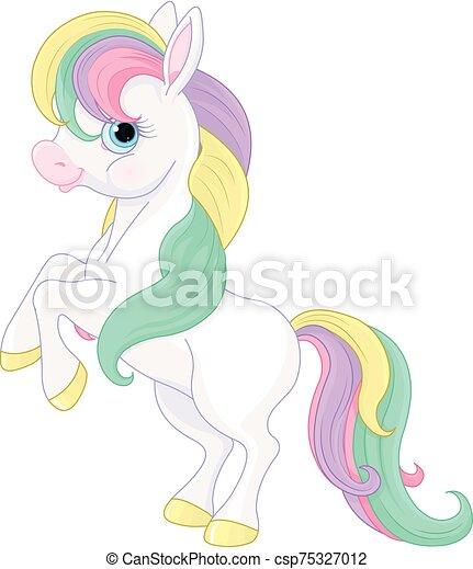 Rainbow Pony Rearing Up - csp75327012