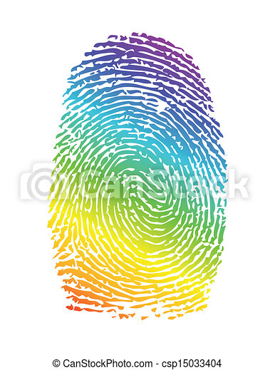 rainbow pride thumbprint. fingerprint illustration - csp15033404