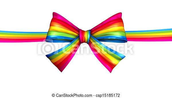 Rainbow Ribbon Bow  - csp15185172