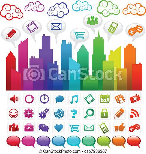 Rainbow Social Media City - csp7936387