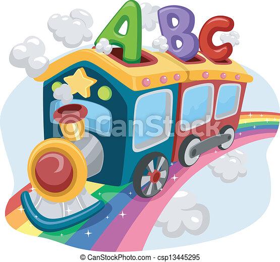 Rainbow Train with ABC - csp13445295