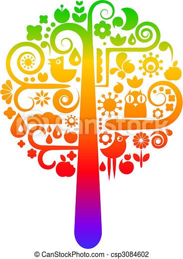 Rainbow tree with ecological icons - csp3084602