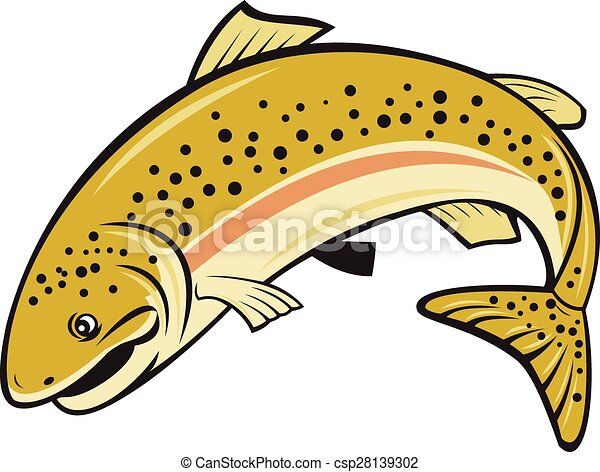 rainbow trout jumping cartoon isolated illustration of a vector rh canstockphoto com rainbow trout clip art speckled trout clip art