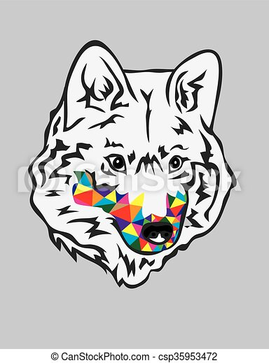 Rainbow Wolf Head