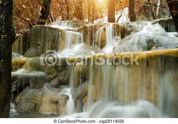 rainforest, 石灰岩, thailand., 滝 - csp29114026