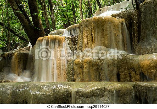 rainforest, 石灰岩, thailand., 滝 - csp29114027