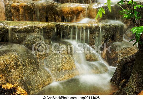 rainforest, 石灰岩, thailand., 滝 - csp29114028