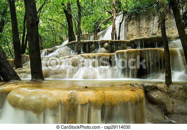 rainforest, 石灰岩, thailand., 滝 - csp29114030